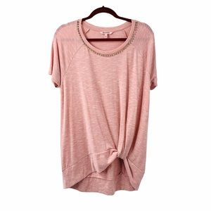Juicy Couture Twist Front Crystal Detail Mauve Top